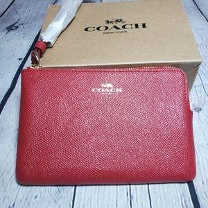 COACH Leather Corner Zip Wristlet Red Wallet